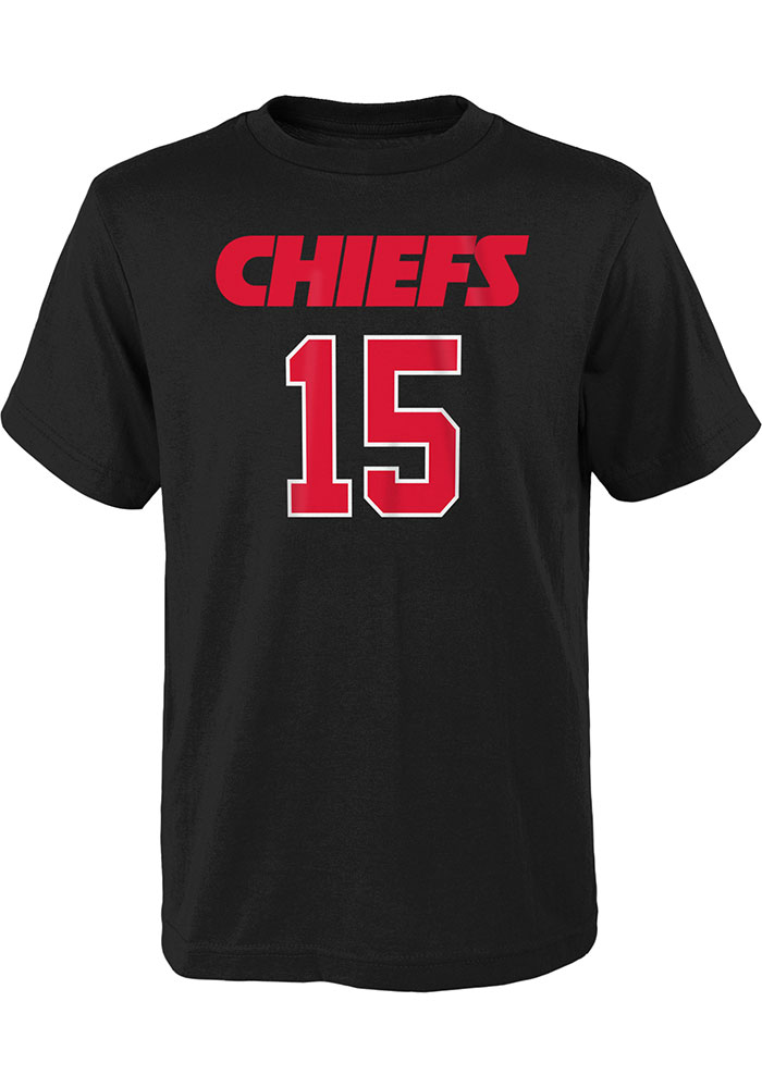 Patrick Mahomes Kansas City Chiefs Youth Black Name and Number Player Tee - Image 2
