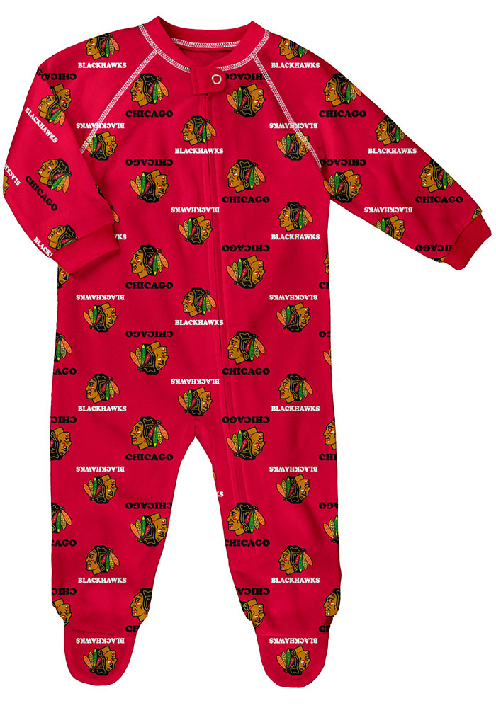 Chicago Blackhawks Baby Red All Over Loungewear One Piece Pajamas - Image 1