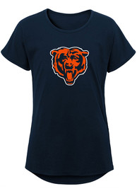 Chicago Bears Girls Primary Logo Dolman T-Shirt - Navy Blue