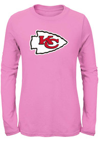 Kansas City Chiefs Girls Primary Long Sleeve T-shirt - Pink