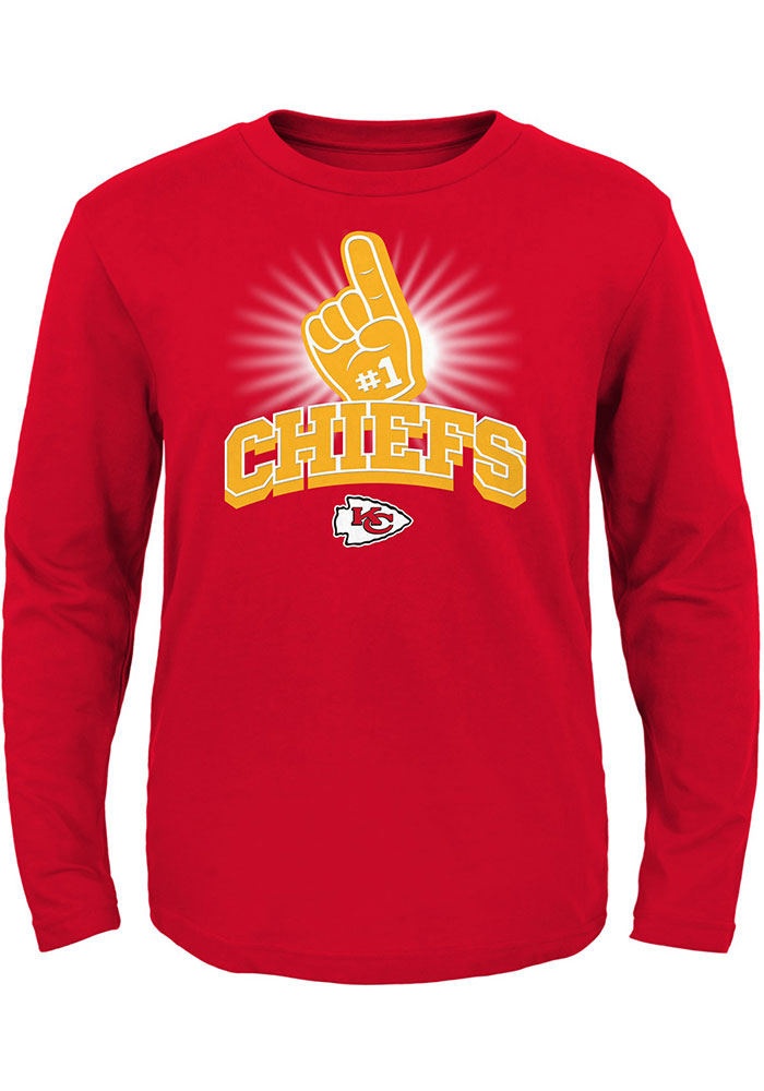 Kansas City Chiefs Toddler Red Number One Long Sleeve T-Shirt - Image 1