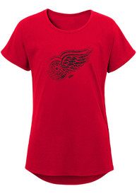 Detroit Red Wings Girls Energized Dolman T-Shirt - Red