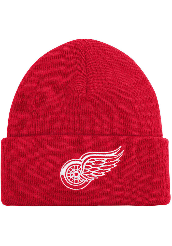 Detroit Red Wings Red Basic Cuff Youth Knit Hat - Image 1