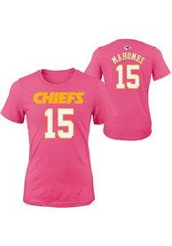 Patrick Mahomes Kansas City Chiefs Girls Outer Stuff Name and Number T-Shirt - Pink