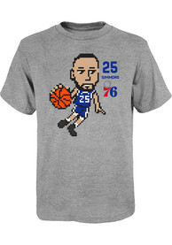 Ben Simmons Philadelphia 76ers Youth Pixel T-Shirt - Grey