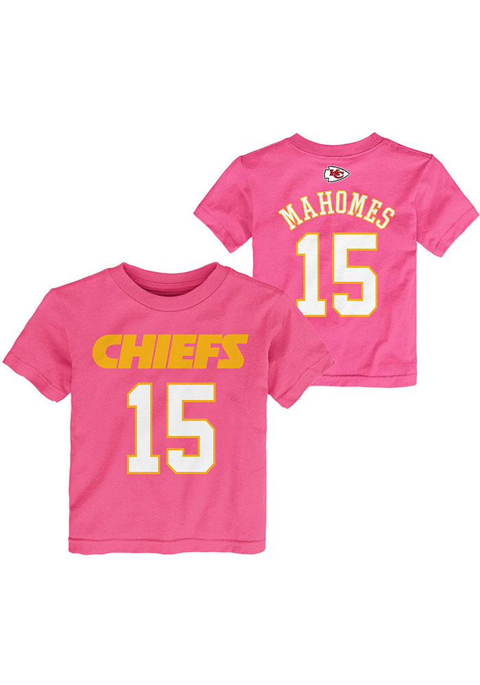 Patrick Mahomes Outer Stuff Kansas City Chiefs Toddler Girls Pink Name and Number Short Sleeve T-Shirt - Image 1