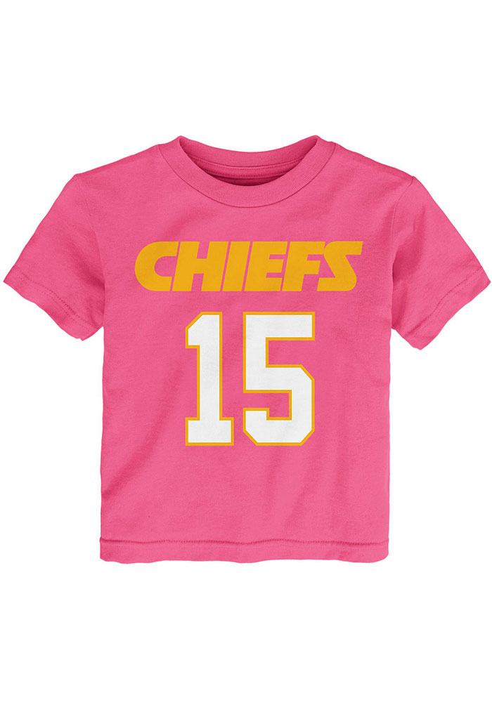 Patrick Mahomes Outer Stuff Kansas City Chiefs Toddler Girls Pink Name and Number Short Sleeve T-Shirt - Image 2