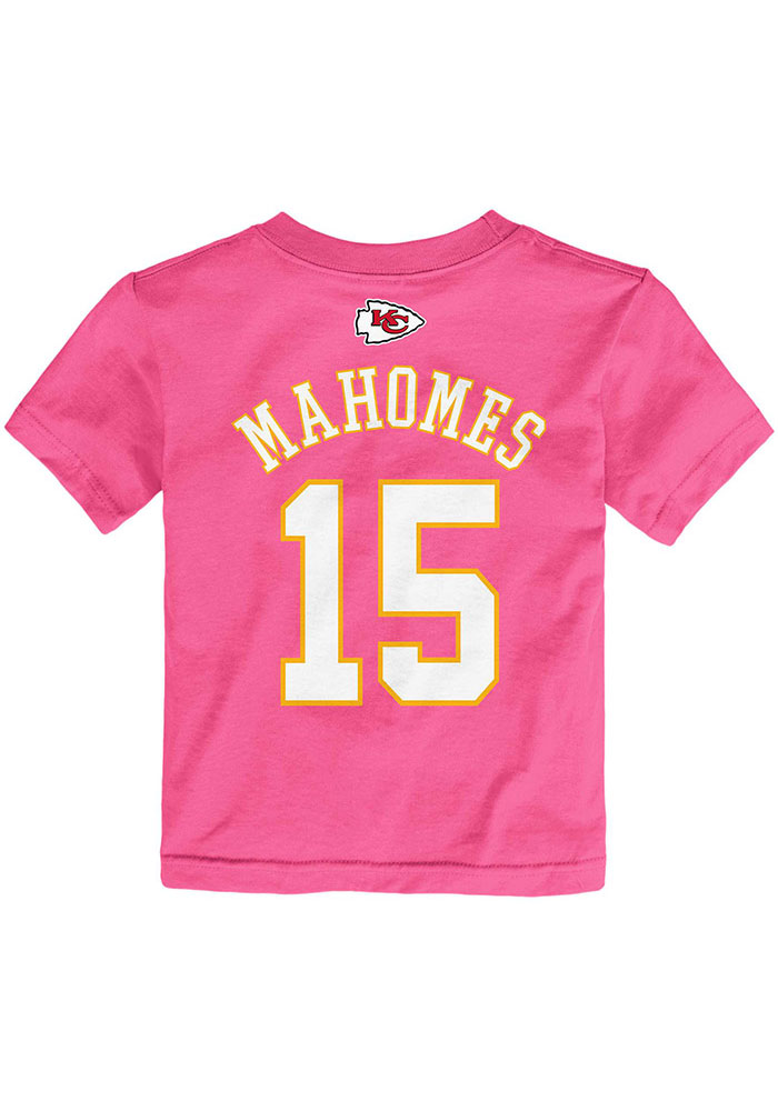 Patrick Mahomes Outer Stuff Kansas City Chiefs Toddler Girls Pink Name and Number Short Sleeve T-Shirt - Image 3