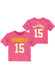 Patrick Mahomes Kansas City Chiefs Infant Girls Outer Stuff Name and Number T-Shirt - Pink