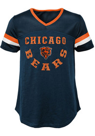 Chicago Bears Girls Game Plan Fashion T-Shirt - Navy Blue