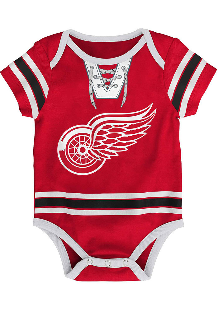 Detroit Red Wings Baby Red Hockey Pro Short Sleeve One Piece - Image 1