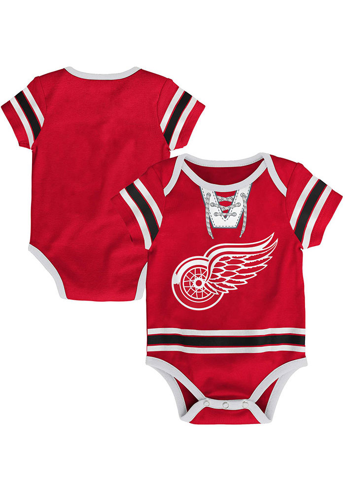Detroit Red Wings Baby Red Hockey Pro Short Sleeve One Piece - Image 3