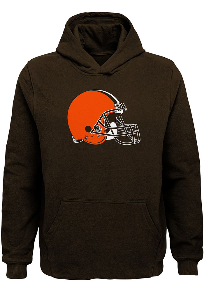 Cleveland Browns Youth Brown Primary Logo Long Sleeve Hoodie - Image 1