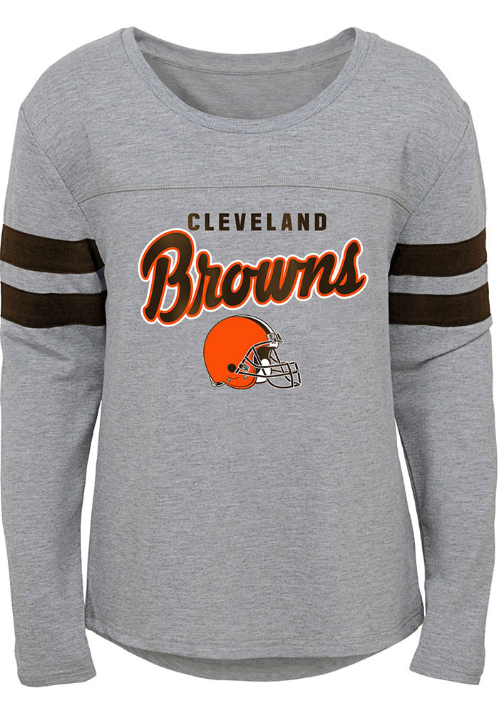 Cleveland Browns Girls Grey Field Armor Long Sleeve T-shirt - Image 1