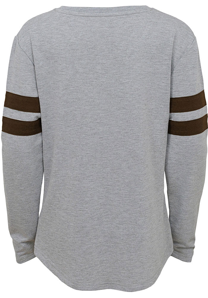 Cleveland Browns Girls Grey Field Armor Long Sleeve T-shirt - Image 2