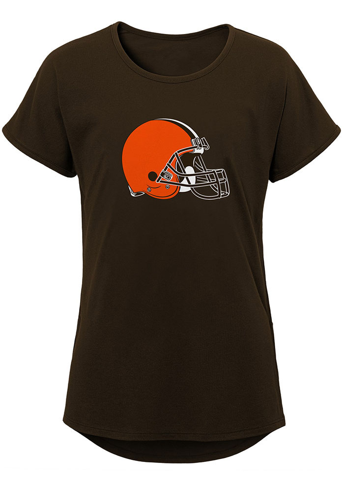 Cleveland Browns Girls Brown Primary Logo Short Sleeve Tee - Image 1