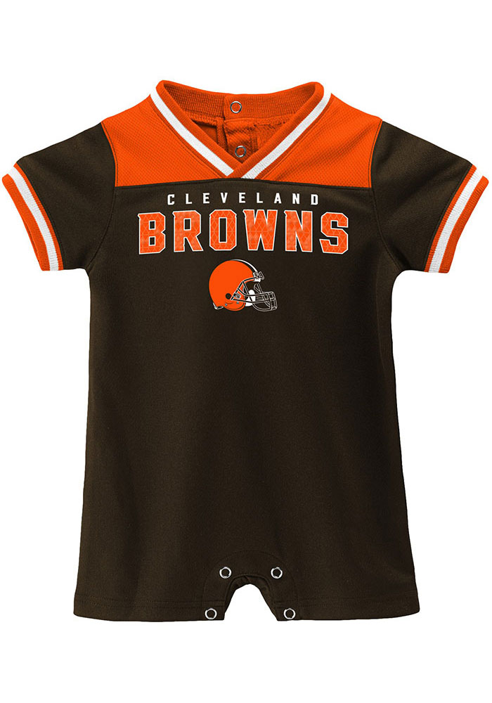 Cleveland Browns Baby Brown Game Day Short Sleeve One Piece - Image 1