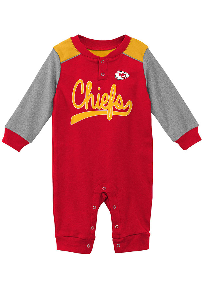 Kansas City Chiefs Baby Red Scrimmage Long Sleeve One Piece - Image 1