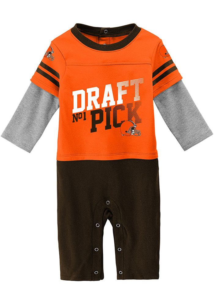 Cleveland Browns Baby Brown Draft Pick Long Sleeve One Piece - Image 1