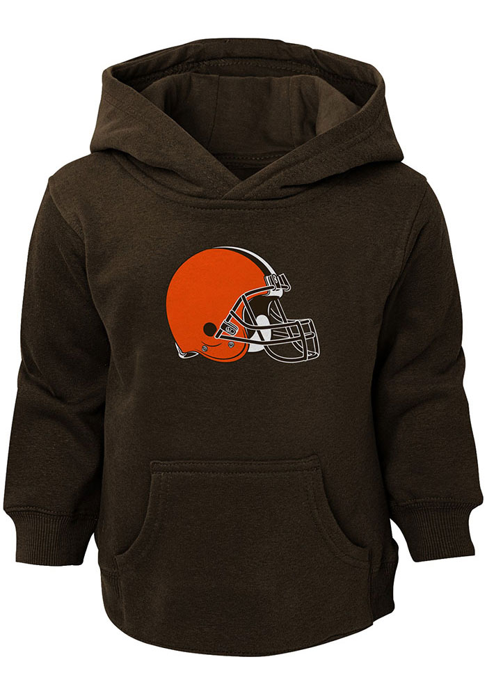 Cleveland Browns Toddler Brown Primary Logo Long Sleeve Hooded Sweatshirt - Image 1