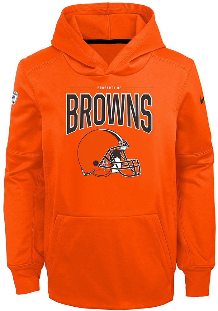Cleveland Browns Youth Brown Therma Long Sleeve Hoodie - Image 1