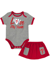 Philadelphia Phillies Infant Girls Sweet Save Top and Bottom - Grey