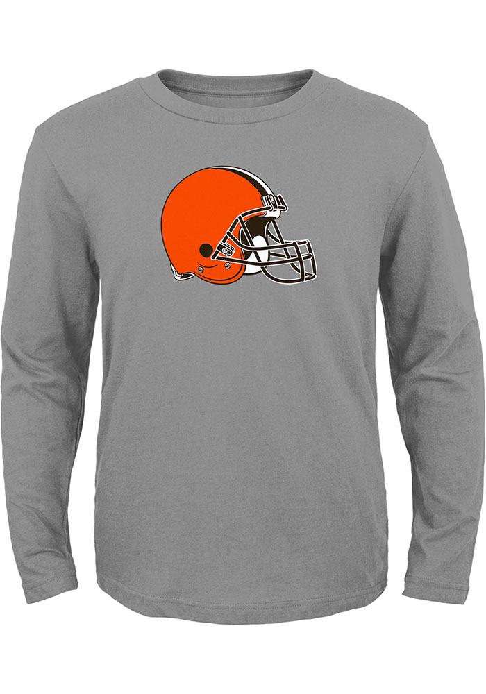 Cleveland Browns Boys Grey Primary Logo Long Sleeve T-Shirt - Image 1