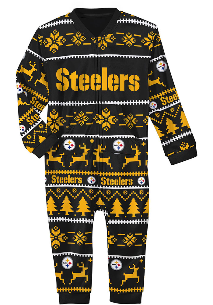 Pittsburgh Steelers Baby Black Festive One Piece Loungewear One Piece Pajamas - Image 1