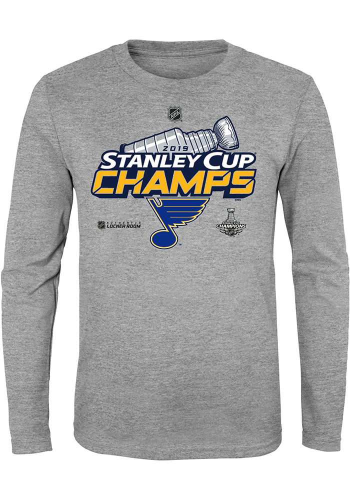 St Louis Blues Youth Grey 2019 Locker Room Cup Champs Long Sleeve T-Shirt - Image 1