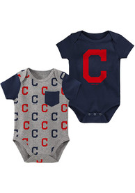 Cleveland Indians Baby Navy Blue Born and Raised One Piece