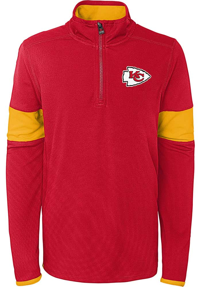 Kansas City Chiefs Boys Red Yard Line Long Sleeve 1/4 Zip Pullover - Image 1