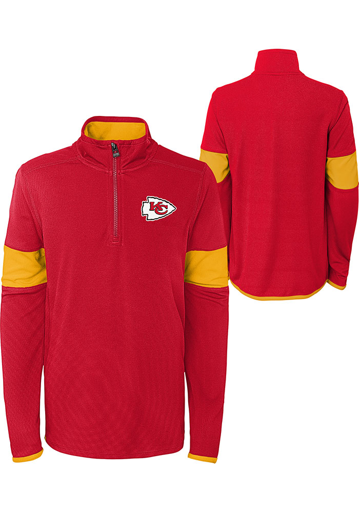 Kansas City Chiefs Boys Red Yard Line Long Sleeve 1/4 Zip Pullover - Image 3