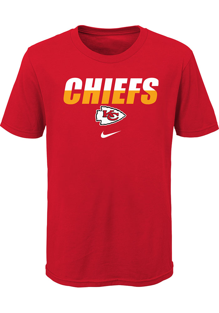 Nike Kansas City Chiefs Boys Red Split Name Short Sleeve T-Shirt - Image 1