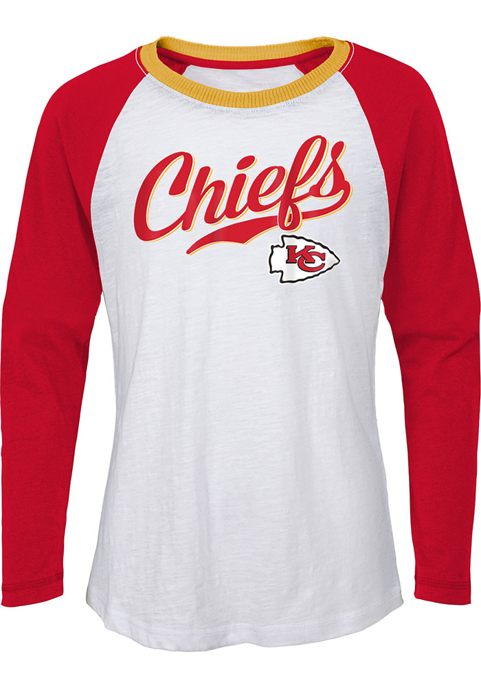 Kansas City Chiefs Girls White Tradition Long Sleeve T-shirt - Image 1