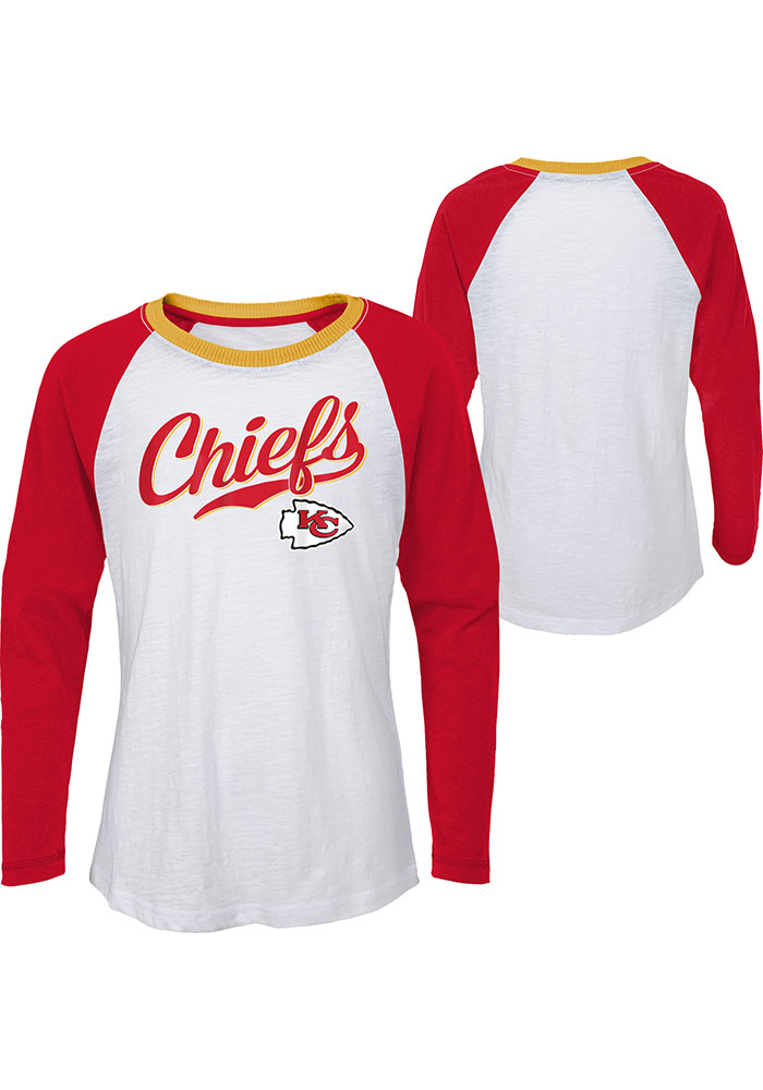 Kansas City Chiefs Girls White Tradition Long Sleeve T-shirt - Image 3