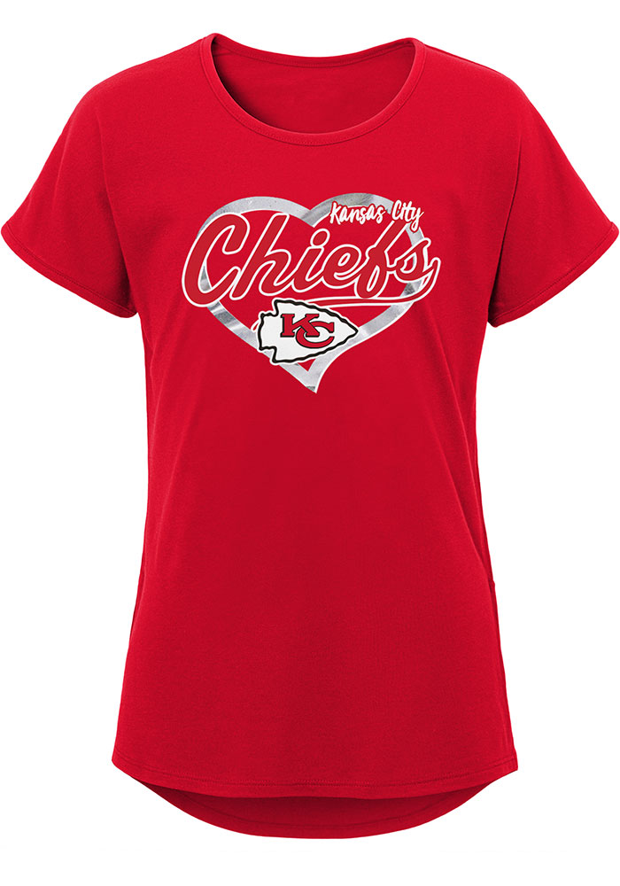 Kansas City Chiefs Girls Red Best Life Dolman Short Sleeve Tee - Image 1