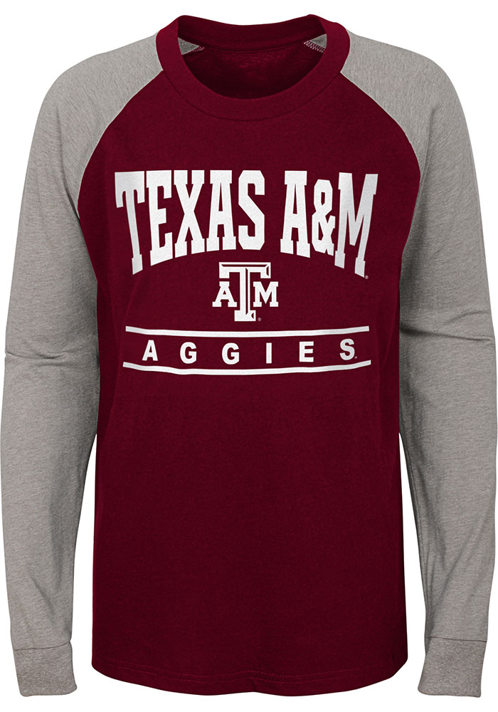 Texas A&M Aggies Youth Maroon Classic Raglan Long Sleeve Fashion T-Shirt - Image 1