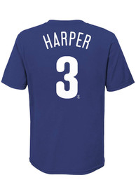 Bryce Harper Philadelphia Phillies Youth Name and Number T-Shirt - Blue