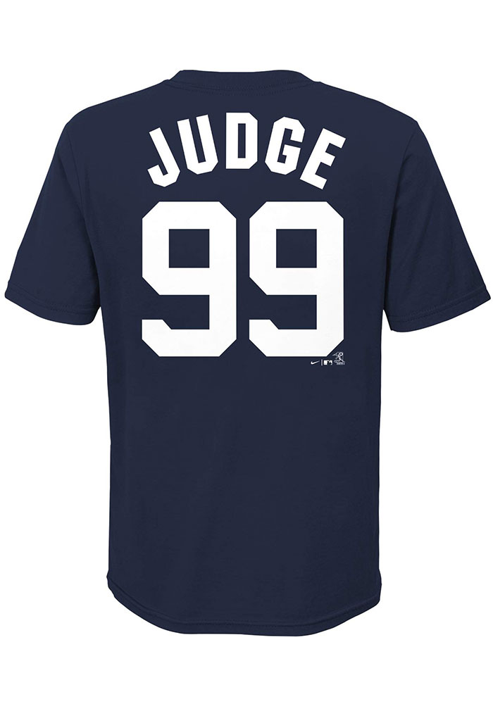 Aaron Judge New York Yankees Youth Navy Blue Name Number Player Tee - Image 1