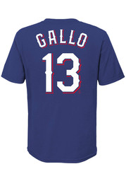 Joey Gallo Texas Rangers Youth Name Number T-Shirt - Blue