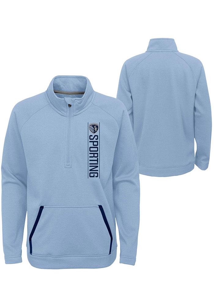Sporting Kansas City Youth Light Blue Stealth Mode Long Sleeve Quarter Zip Shirt - Image 3