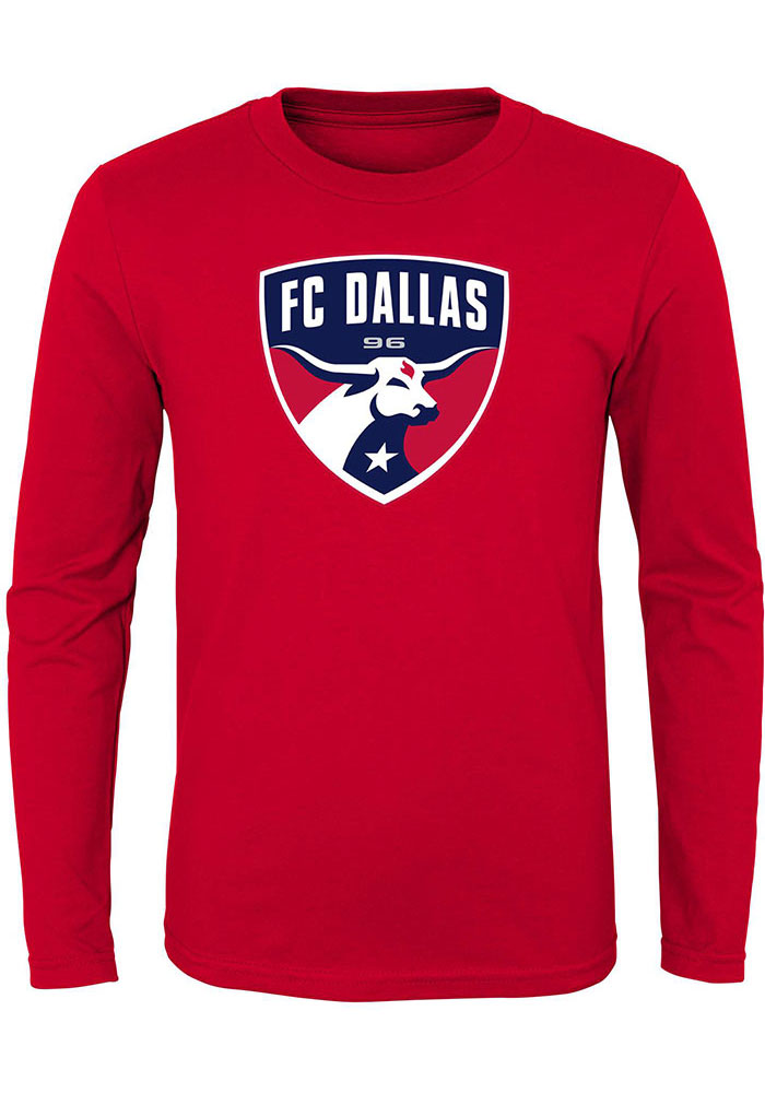 FC Dallas Youth Red Primary Logo Long Sleeve T-Shirt - Image 1