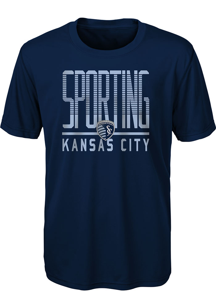 Sporting Kansas City Youth Navy Blue Stand Tall Short Sleeve T-Shirt - Image 1