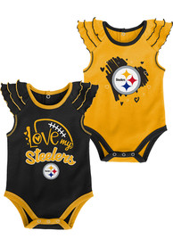 Pittsburgh Steelers Baby All Love One Piece - Black