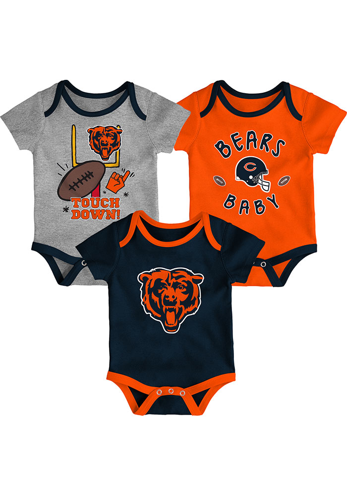 Chicago Bears Baby Navy Blue Champ SS 3PK One Piece - Image 1