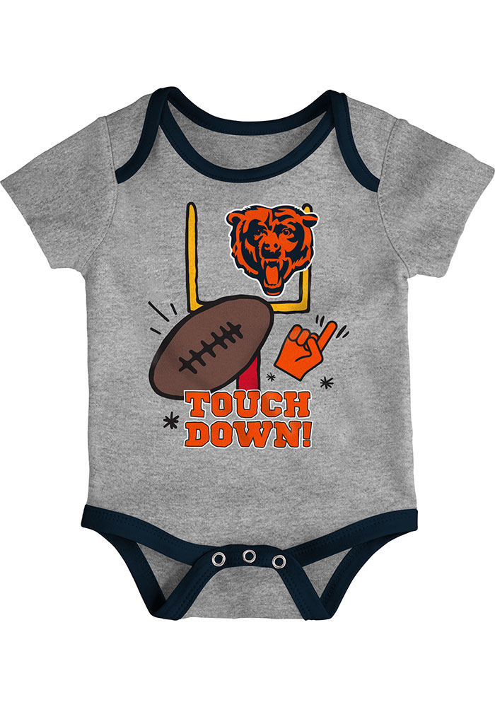 Chicago Bears Baby Navy Blue Champ SS 3PK One Piece - Image 2