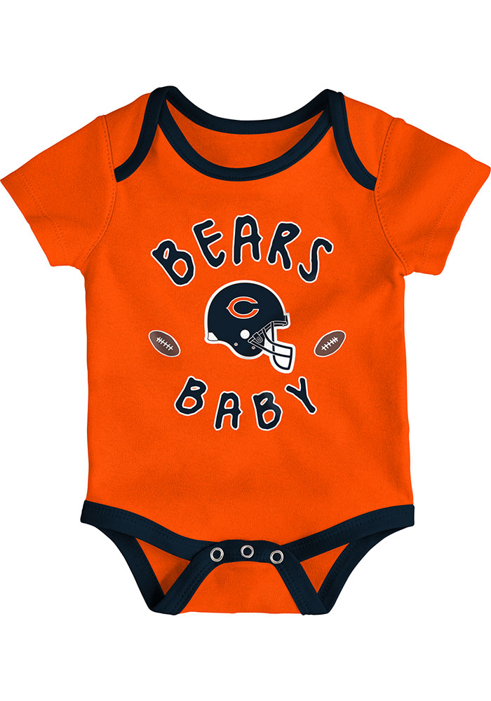 Chicago Bears Baby Navy Blue Champ SS 3PK One Piece - Image 3