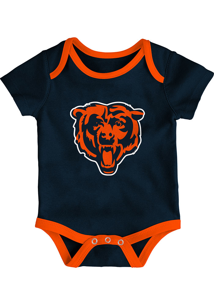 Chicago Bears Baby Navy Blue Champ SS 3PK One Piece - Image 4