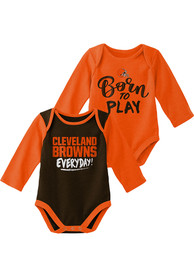 Cleveland Browns Baby Little Player LS 2PK One Piece - Brown