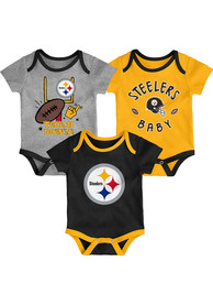 Pittsburgh Steelers Baby Champ SS 3PK One Piece - Black
